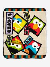 Sesame Street Japanese Kanji Muppets Throw Fleece Blanket 48X60 BoxLunch NWT