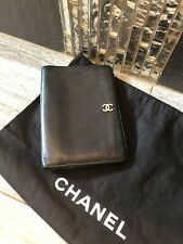 Authentic CHANEL CC Logos Bifold Wallet Purse Black Leather Vintage AK32924