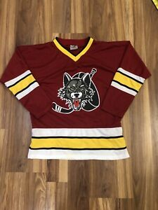 Chicago Wolves Jersey Youth LARGE AHL Minor Hockey League Maroon Home