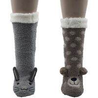 Womens Foxbury Novelty Animal Sherpa Lined Slipper Socks SK497 with Grippers
