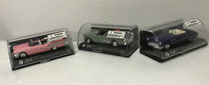 Lot Of 3 1:43 Scale Die Cast Car 1958 Buick Convertible Pink Green & Purple