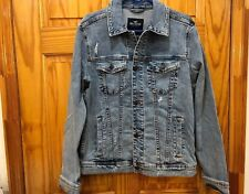 Hollister Men Ripped Stretch denim jeans jacket New With Tag size XL Light Wash