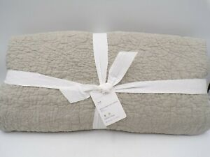 Pottery Barn Belgian Flax Linen Floral Stitch Quilt Twin Eucalyptus #9792Q