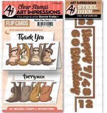 Art Impressions Stamp & Die Combo Set ~ SLOTH FLIP CARD SET Plus Die -Gratitude
