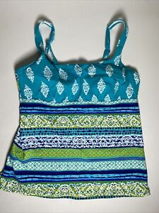 Lands End Square Neck Underwire Tankini Top Size 10 Blue NWD