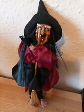 More details for halloween witch vintage style resin face figure doll sound light up eyes rare