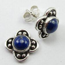 """925 Solid Silver NAVY BLUE LAPIS LAZULI HANDMADE Stud Earrings 0.6"""" 3.4 Grams"""