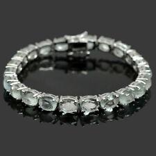 Natural Aquamarine Cabochon Gemstone 925 Sterling Silver Tennis Bracelet