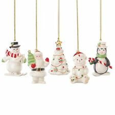 Lenox Very Merry Porcelain Christmas Ornaments Set of 5 ~ Santa Snowman Bear NIB