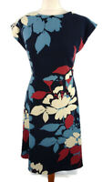 Jaeger Size 6 8 10 Blue Red Floral Short Sleeve A Line Fitted Dress Party