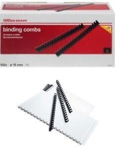 Office Depot Binding Comb 12mm A4 BLACK 95 Sheets Capacity Box of 100