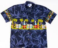 RJC Mens Hawaiian Shirt Dark Blue Palm Trees and Brews Made in Hawaii Size M