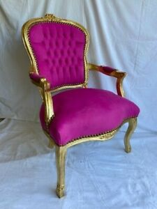 LOUIS XV ARM CHAIR FRENCH STYLE CHAIR VINTAGE PINK VELVET GOLD WOOD