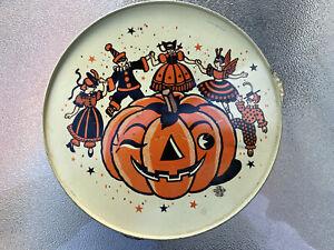 Vintage US Metal Toy Halloween Tin Tambourine Noisemaker Jack O Lantern Witches