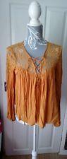 FOREVER 21 Mustard Long Sleeve Smock blouse size 8