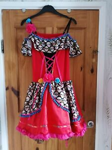 Size 14 Day Of The Dead Quality Fancy Dress Costume Dress