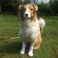 Realistic Plush Toys Rough Collie Big Stuffed Lying Dogs Animals Doll Toys gift
