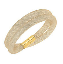 Golden Shadow Fishnet Stardust Mesh Bracelet Bangle Magnetic Clasp Two Row BB135