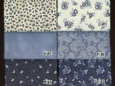 Cumberland Country Blue Flowers Etc. Fat Quarters Quilting Sewing Fabric #box 15