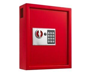 AdirOffice Red Steel 40 Key Cabinet Digital Lock House Auto Key Storage Case