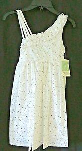 Bonnie Jean Dress 42143 White Eyelet w Iridescent Dots Lined Size 10 #U9676