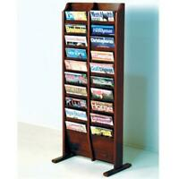 Wooden Mallet Cascade Free Standing 20 Pocket Magazine Rack in Mahogany