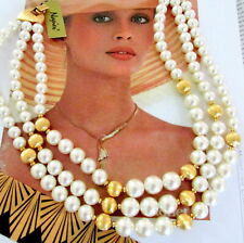 VTG LUXE RUNWAY TRIPLE STRAND NAPIER LARGE FAUX PEARL GOLD BEAD NECKLACE 80s Tag