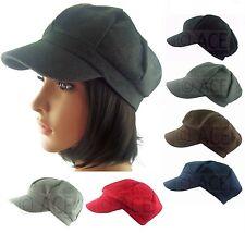 Womens Newsboy Baker Boy Gatsby 8 Panel Felt Feel Fashion Cap Visor Brim Hat