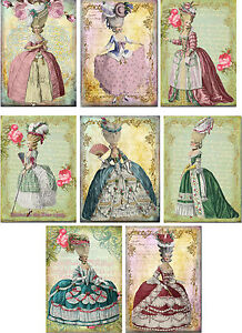 Vintage inspired  Marie Antoinette stationery cards set of 8 with organza bag