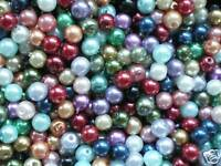 50 x 10MM GLASS PEARL BEADS MIXED COLOURS