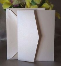 Pearl Ivory DIY Pocket Fold Wedding Invitation Cards with Envelope Invites