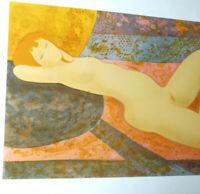 BONNEFOIT Lithographie Originale Signée au Crayon MODÈLE NUE 1974 37x54cm