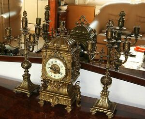 ANTIQUE ECLECTIC BRONZE FIREPLACE CLOCK WITH CANDLE HOLDERS