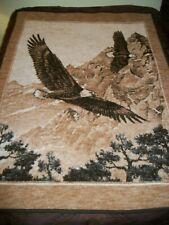 Vtg Biedelack Double Eagle Throw Blanket Soaring Mountains Bald Eagles-74X55