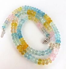 130ct natural multicolor aquamarines necklace 17 inch 14kt+