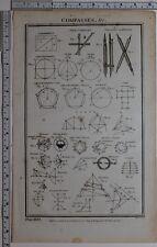 1788 impresión Original brújulas varios curva elíptica acordes & Arco diagramas