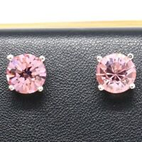 2 Ct Round Pink Sapphire Stud Earrings Women Jewelry Gift 14K White Gold Plated