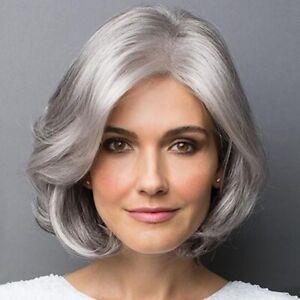Women Synthetic Silver Wavy Short Bob Wig Smooth Natural Light Grey Hair