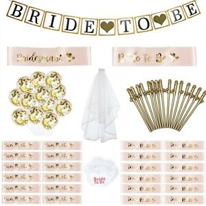 HEN PARTY LOT ROSE GOLD SASHES GOLD WILLY STRAWS VEIL BALLOONS GARTER BANNER