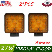 "2X 27W 4"" 5D Amber Led Work Light Square Flood Pods Offroad Driving Fog Lights"
