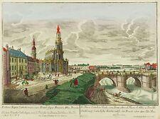DRESDEN - Schloss & Hofkirche - Probst - kolor. Kupferstich 1770