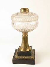 Antique oil lamp slate marble brass pattern glass heavy base kerosine table