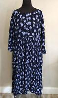 Woman Within Plus Sz 22W Blue Floral Crinkle Rayon Boho Maxi Dress