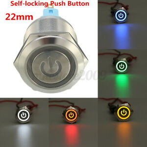 Chrome 6 Pin 22mm Led Light Metal Push Button Latching Power Symbol Switch 12v