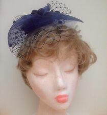Navy Blue, Fascinator with Navy Widow Spot Netting 23cm