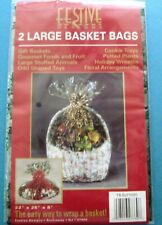"2 Large Christmas Holly Basket  Bags 22"" X 25"" X 8"" NIB"