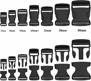 Black Delrin Plastic Side Release Fasteners Squeeze Buckle Clip 20mm /25mm/ 50mm