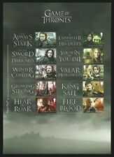 GB 2018 PRE ISSUE GAME OF THRONES FILMS SCI FI COLLECTORS SHEET MNH