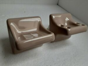 Fawn Beige Ceramic Soap Dish Tray Toothbrush Cup Holder Set Classic Color 068
