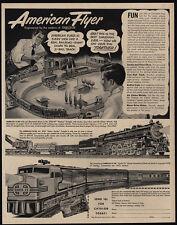 1951 Dad & Son Play With AMERICAN FLYER Model Train - Santa Fe - VINTAGE AD